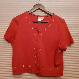 VINTAGE Short-Sleeve Cardigan w/ Embroidery